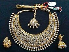 Indian Bollywood Gold Plated CZ Pearl Wedding Fashion Jewelry Necklace Set
