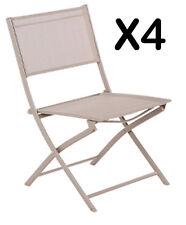 Lot de 4 Chaises Pliantes Léo Taupe - Dim : 52 x 46 x 85 cm