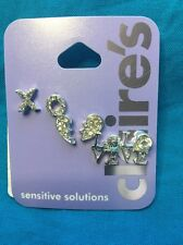 Three Pairs Of Claire's Silver Tone And Ringtone Encrusted Earrings