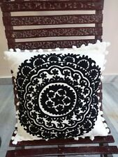 Suzani Decorative Throw Pillows Pom Pom Cushion Cover Black & White Pillow Shams