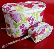 CLINIQUE 2 PIECE  FLORAL SPRING MAKE UP COSMETIC BAG SET