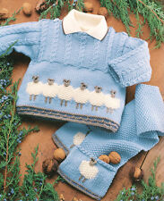 Baby Sheep Motif Sweater Jacket Scarf  & Hat 0 - 2 years DK Knitting Pattern