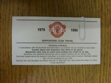 1979/1980 Ticket: Manchester United, Supporters Club Travel 'Conditions Of Booki