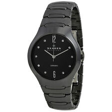 Skagen Black Ceramic Swarovski Crystal Ladies Watch 817SBXBC