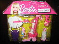 Barbie PINK CLEANING TIME FUN Vacuum Cleaner Duster Dollhouse Furniture House