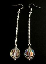 Vintage Aurora Borealis Crystal Long Drop Silver Wedding Party Earrings Gift Bag