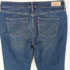 Ladies Womens Levis Demi Curve Straight Mid Blue Jeans W32 L34 UK Size 12
