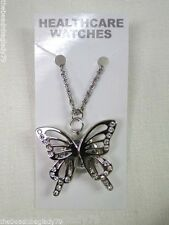 NEW FIRST HAND BUTTERFLY CHAIN NECKLACE WATCH SILVER PLATED with Crystals