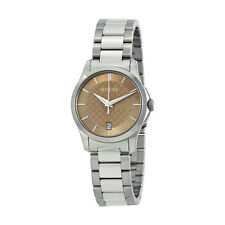 Gucci G-Timeless Brown Dial Stainless Steel Ladies Watch YA126526