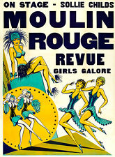 Moulin Rouge Revue 1930s Vintage High Quality Canvas Art Print