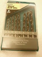 Drill Bit Set Wood With Case 3 to 10 mm Plastic Storage Case 8pc Set Green Case