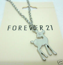 Forever 21 Necklace Deer Pendant Silver Tone Chain 15 Inches Animal No Stone
