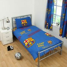 NEW BARCELONA FOOTBALL CLUB SINGLE DUVET QUILT COVER SET BOYS KIDS BEDROOM GIFT