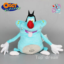 "New Oggy and the Cockroaches Oggy Blue Cat Soft Stuffed Plush Doll Toy 12"" Teddy"