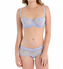 Chantelle VENDOME Lilac Blue Embroidered 1905 Demi UW Bra 34DD & 1904 Shorty M