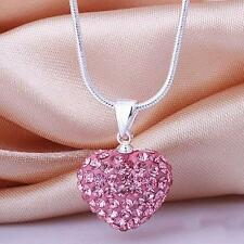 Women Girl Silver Pink Crystal Heart Chain Pendant Necklace Gift