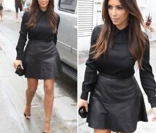 ** NEW ZIP DFCT KARDASHIAN KOLLECTION BLACK FAUX LEATHER PVC SKIRT 16 EU 42 **