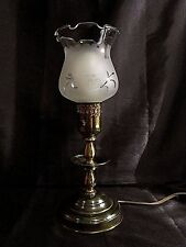 VINTAGE BRASS CANDLESTICK STYLE LAMP w/Clear and Frosted Glass Hurricane Shade