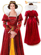 Adult Queen Elizabeth Costume Tudor Blackadder Ladies Womens Fancy Dress Outfit