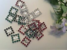 Vintage square 12 rhinestones Mixed 13mm x4 Silvertone set CRAFT Post Free
