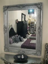 VERSACE SILVER ORNATE WALL BEVELLED FRENCH WOOD OVERMANTLE MIRROR 4FT x 3FT