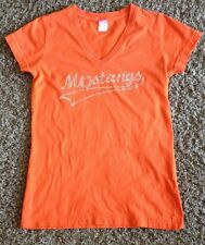 MUSTANGS RHINESTONE  ORANGE SHORT SLEEVE TOP BY  ZAT  SIZE  JUNIOR MEDIUM