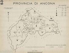 Provincia Ancona:Tutti i Comuni nel 1938,Carta Topografica.Anno XVI Era Fascista