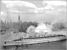 Photo: Troopship Queen Mary In NY Harbor w/15,000 Allied Troops, June 20, 1945