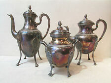 ancien 3 pieces cafetiere sucrier theiere metal argenté poinconné st empire 1900