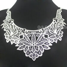 Vintage Silver Flower Chantilly Lace Filigree Statement Collar Choker Necklace