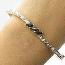 925 Sterling Silver Natural Sapphire Gemstone Diamond Accent Bangle Bracelet 7""