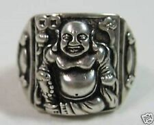 BUDDHA 3D TIBETAN ANTIQUED SILVER LARGE MENS WOMENS RING SIZE 10 11 GIFT FOR DAD