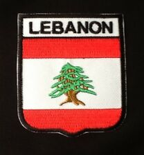 LEBANON LEBANESE MIDDLE EAST NATIONAL FLAG BADGE IRON SEW ON PATCH CREST SHIELD