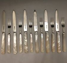 1920 Art Deco 12 Piece Fruit Cutlery Set Sterling Silver & Mother of Pearl -L567