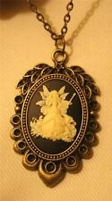 Delightful Leaf Rim Scalloped Good Witch Wishes Fairy with Wand Pendant Necklace