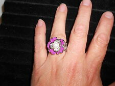 "Paparazzi StretchBand Ring (new) SILVER & PURPLE FLOWER W/""PEARL"" & SPARKLES"
