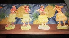 Hula Girls Dancing Wallpaper Border hawaiian exotic tropical island navy blue