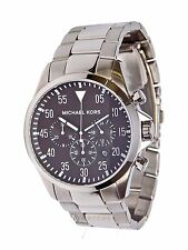 NEW MENS MICHAEL KORS (MK8413) GAGE SILVER TONE CHRONOGRAPH BLACK DIAL WATCH