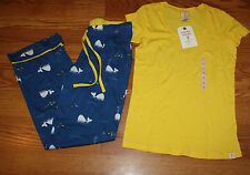 NEW MUNKI MUNKI 2 Piece Yellow Blue Whale Print Pajamas Sleepwear Set Small