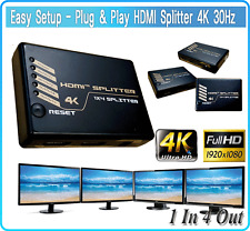 Ultra HD 4K @ 30Hz HDMI Splitter 1 in 4 out 1080P FHD Amplifier Repeater 1x4Hub