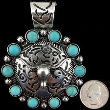 Western Cowgirl Vintage Silver Ropes Turquoise Longhorn Round Pendant Large