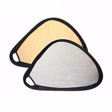 "2in1 24"" Gold/Silver Triangular Collapsible Disc Photo Studio Reflector w/ Grip"