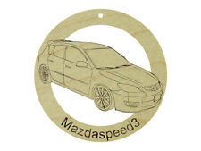Mazda Mazdaspeed3 Natural Maple Hardwood Ornament Sanded Finish Laser Engraved