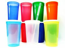 12 - 20 Oz. Plastic Drinking Glasses Lids Straws Mfg USA Mix of Colors No BPA