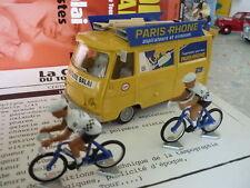 MINIATURE PEUGEOT J7 TOUR DE FRANCE + 2 CYCLISTES - 1/43 - NEUFS SOUS BLISTER