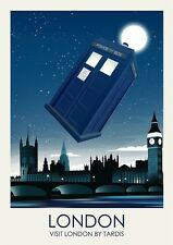 Dr Who London Travel Poster Print Vintage Railway posters Home Decor
