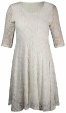 Womens Plus Size Skater Floral Lace ¾  Sleeve Evening Mini Party Dress 14-28