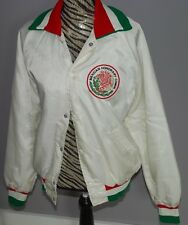 Mexican Honorary Commission Jacket Mens Large White Lined Vintage Embroidered
