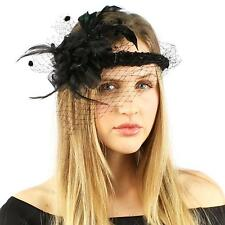 Hippie Halo Crown Feathers Face Veil Net Derby Wedding Headband Fascinator Black