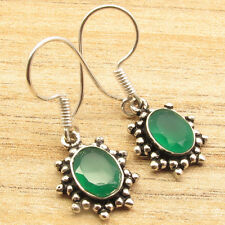 Gifts That Give Twice !!! GREEN ONYX Earrings ! 925 Silver Plated 1 1/4 Inches